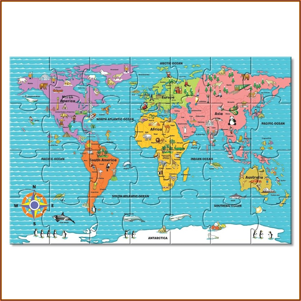 Giant World Map Floor Puzzle
