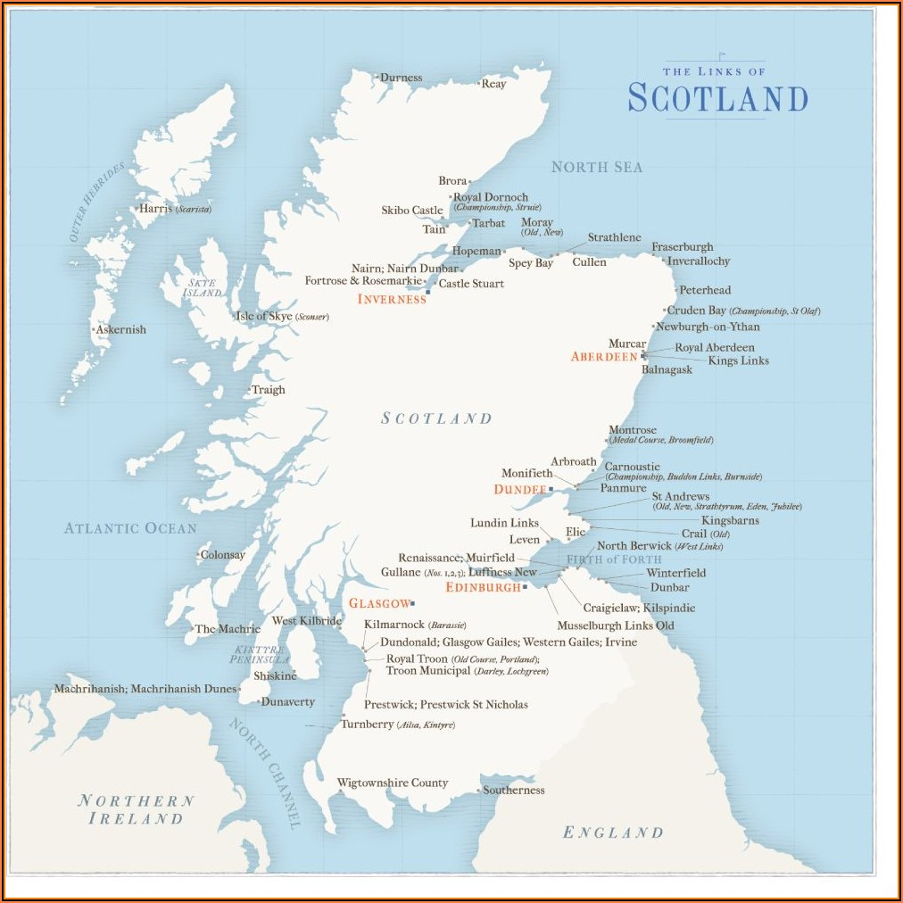 Golf Courses In Scotland Map