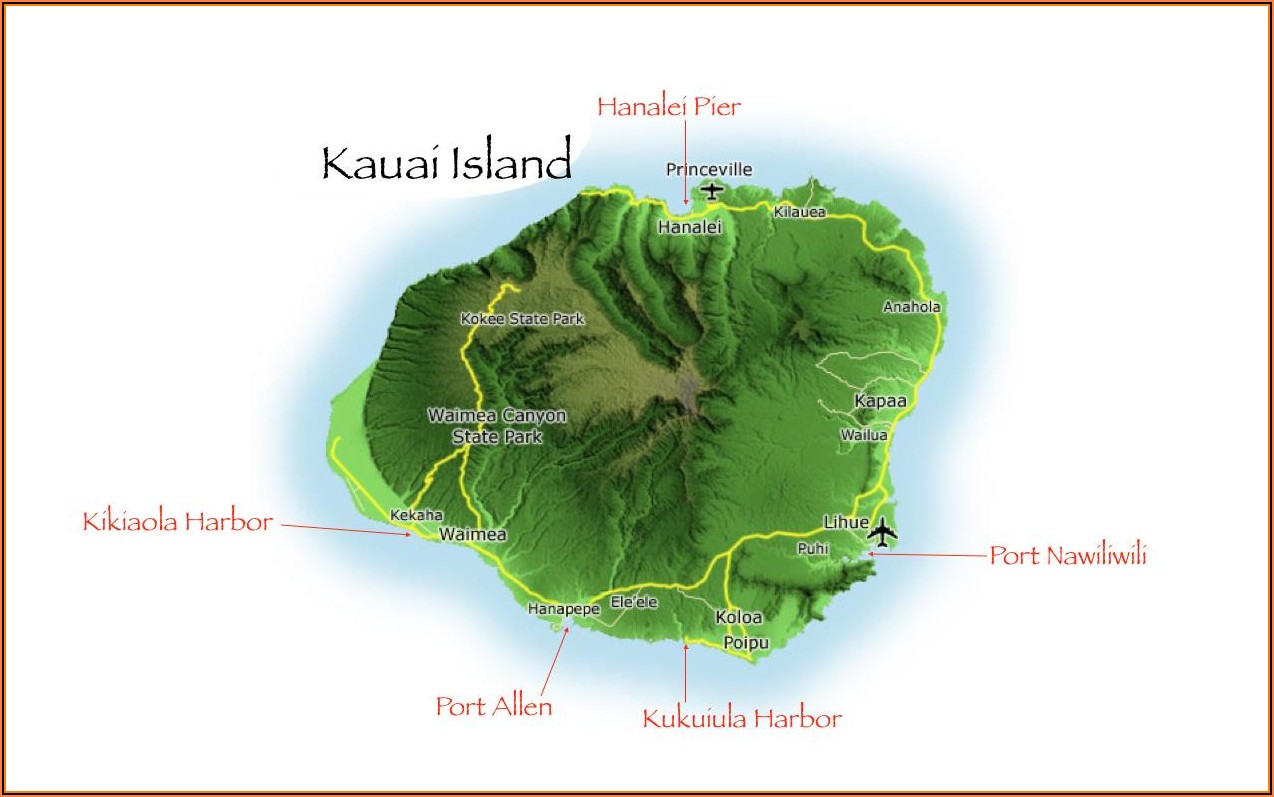 Google Map Of Kauai Island