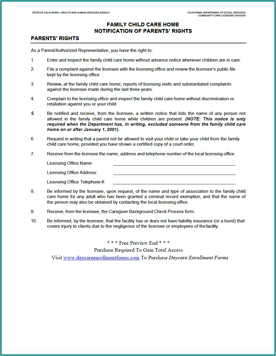 Home Daycare Enrollment Forms