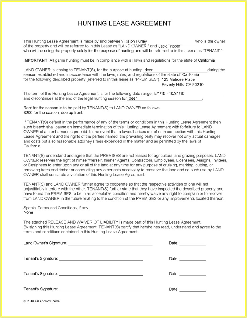 Hunting Lease Waiver Form