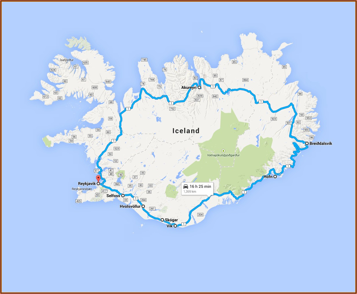 Iceland Road Trip Google Maps