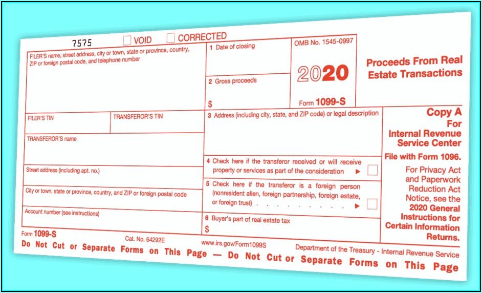 Internal Revenue Service Form 1099 S