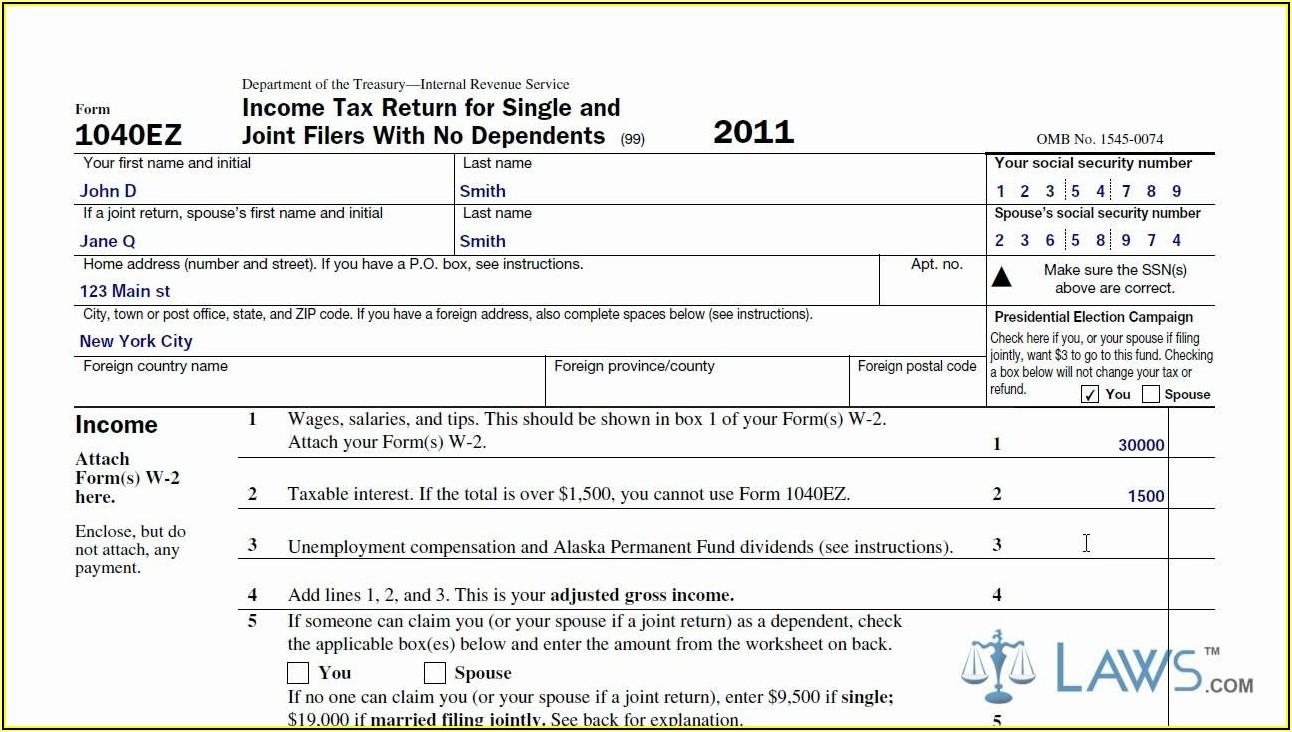 Irs 1040ez Form Online