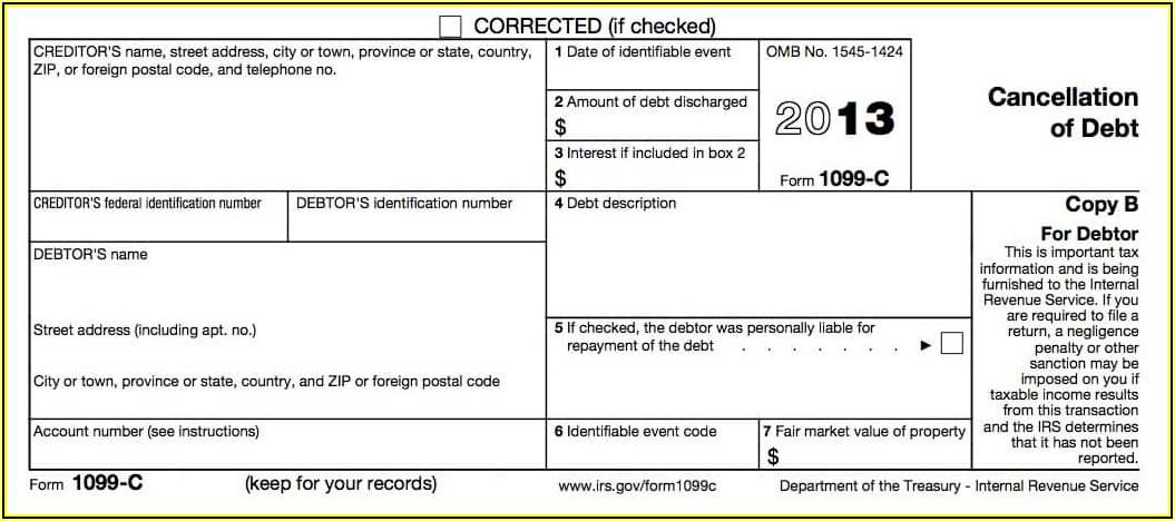 Irs Debt Forgiveness Form 982