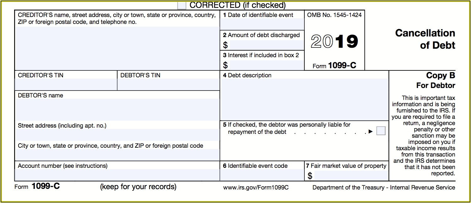 Irs Form For Mortgage Debt Forgiveness