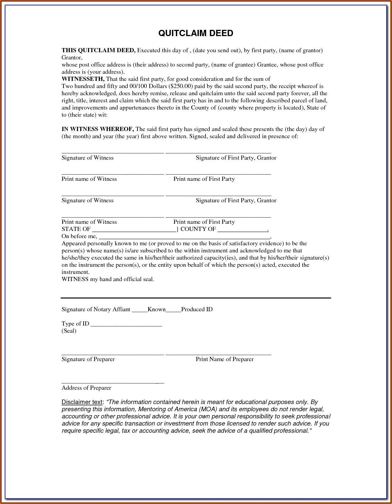Jackson County Missouri Quit Claim Deed Form