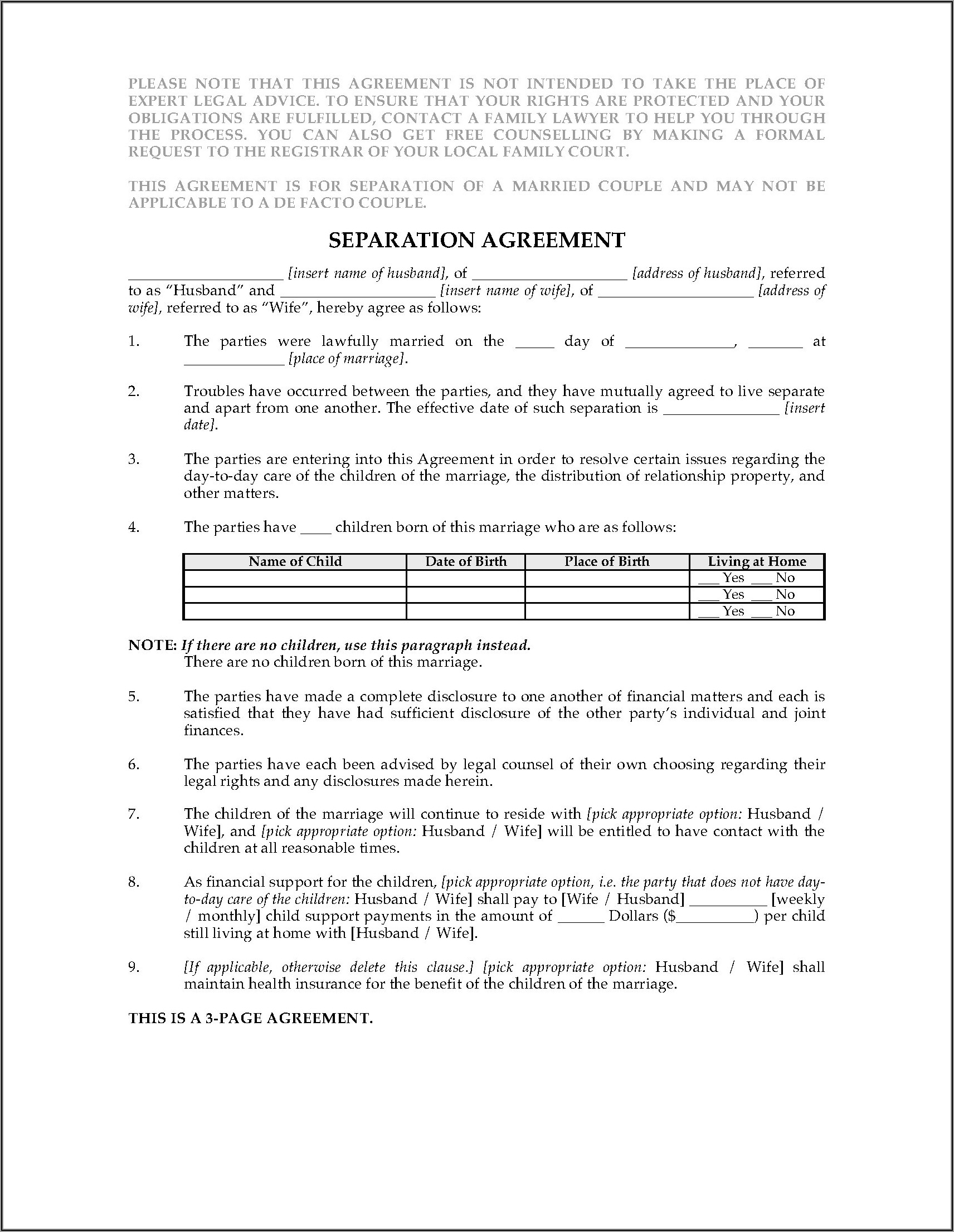 Legal Separation Agreement Form Alberta