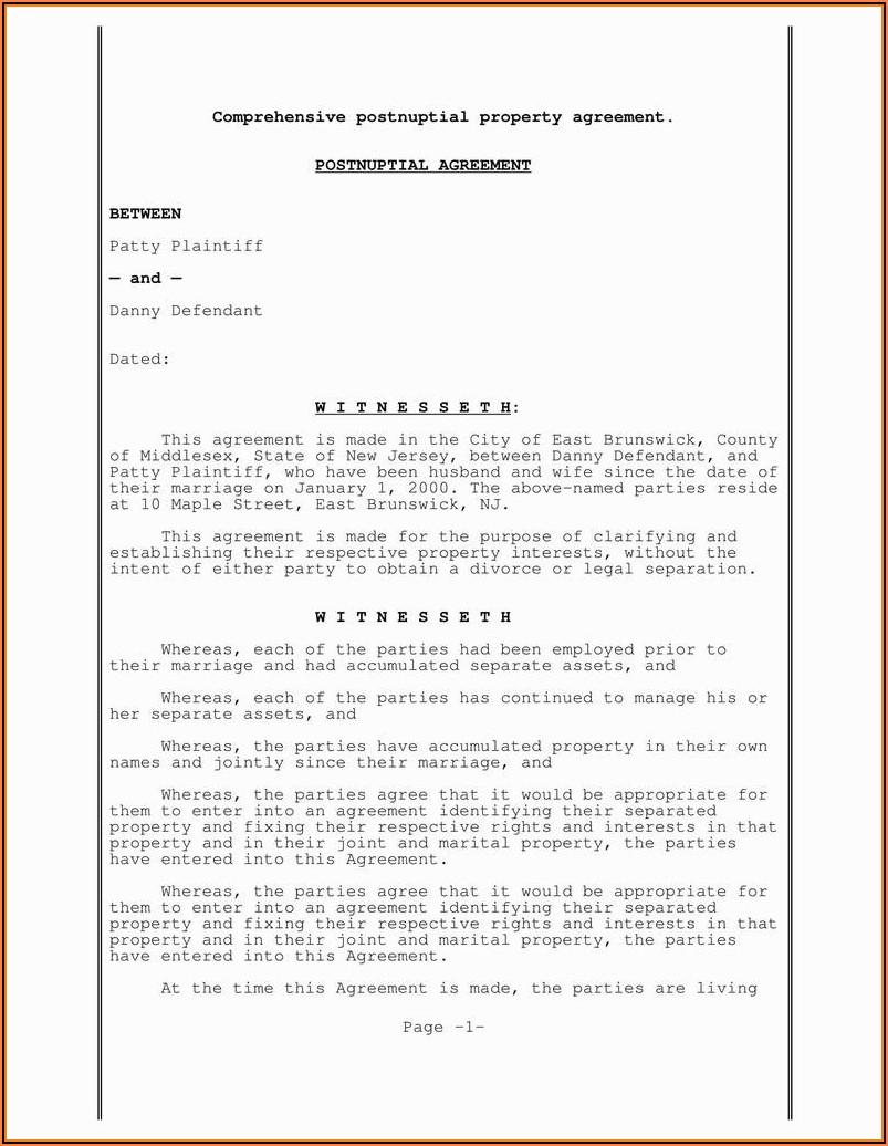 Legal Separation Agreement Form California