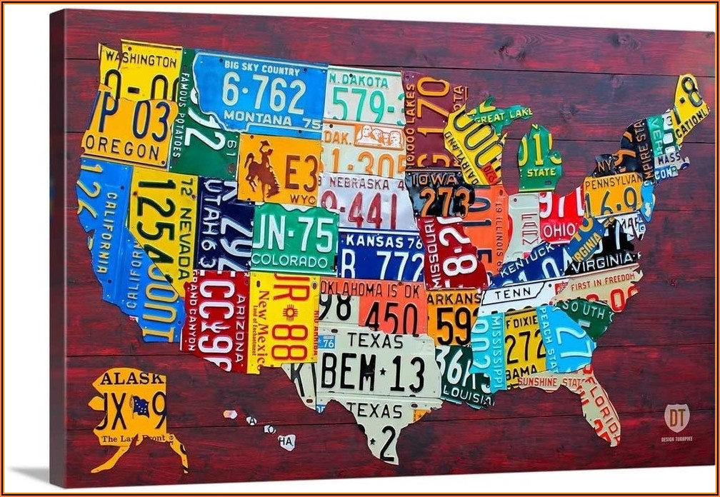 License Plate Usa Map Wall Art