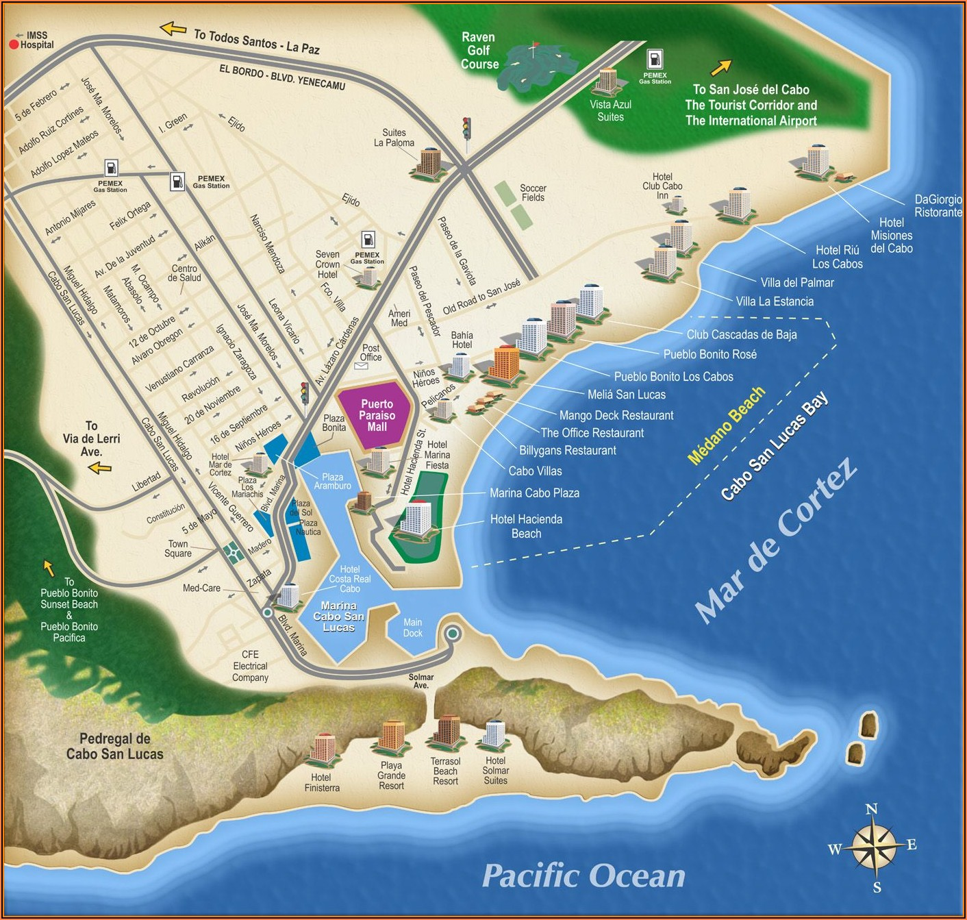 Los Cabos Hotel Zone Map