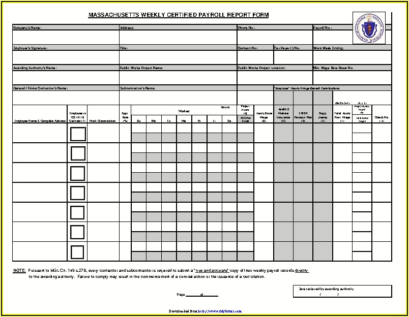 Ma Certified Payroll Form Excel