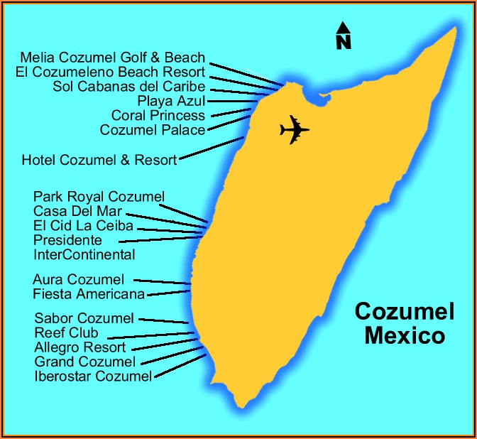 Map Of Beach Hotels In Cozumel