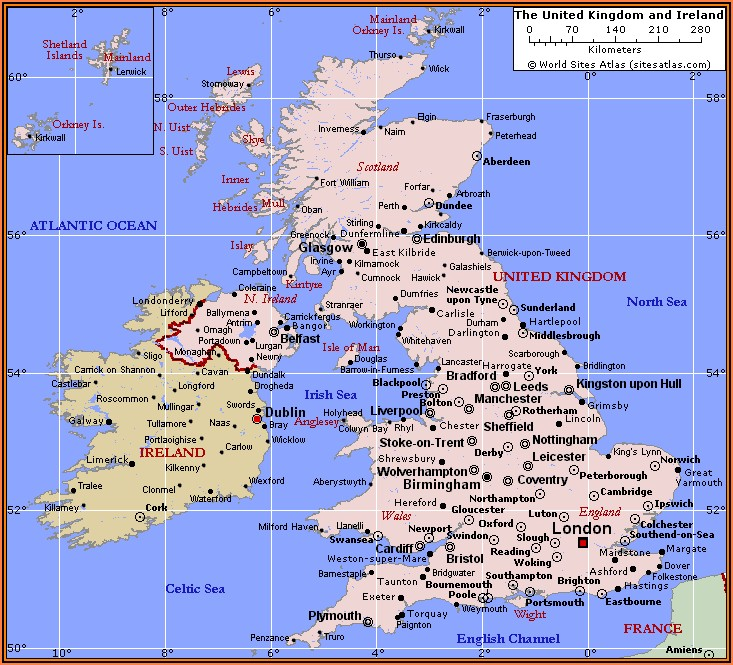 Map Of British Isles Showing Counties