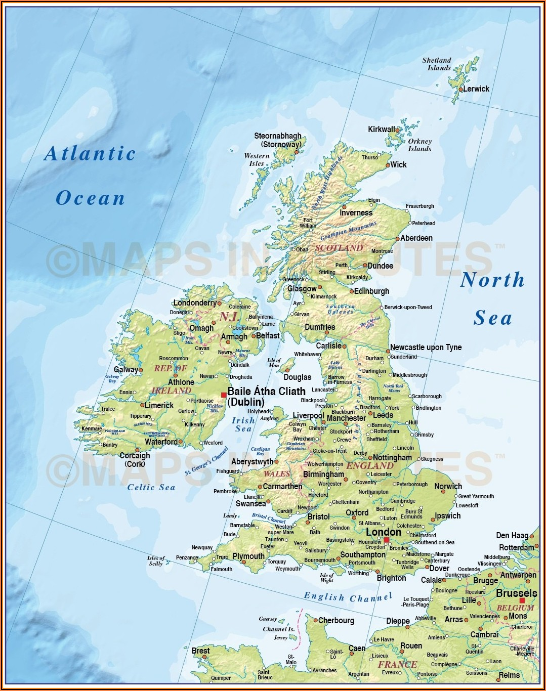 Map Of British Isles With Cities