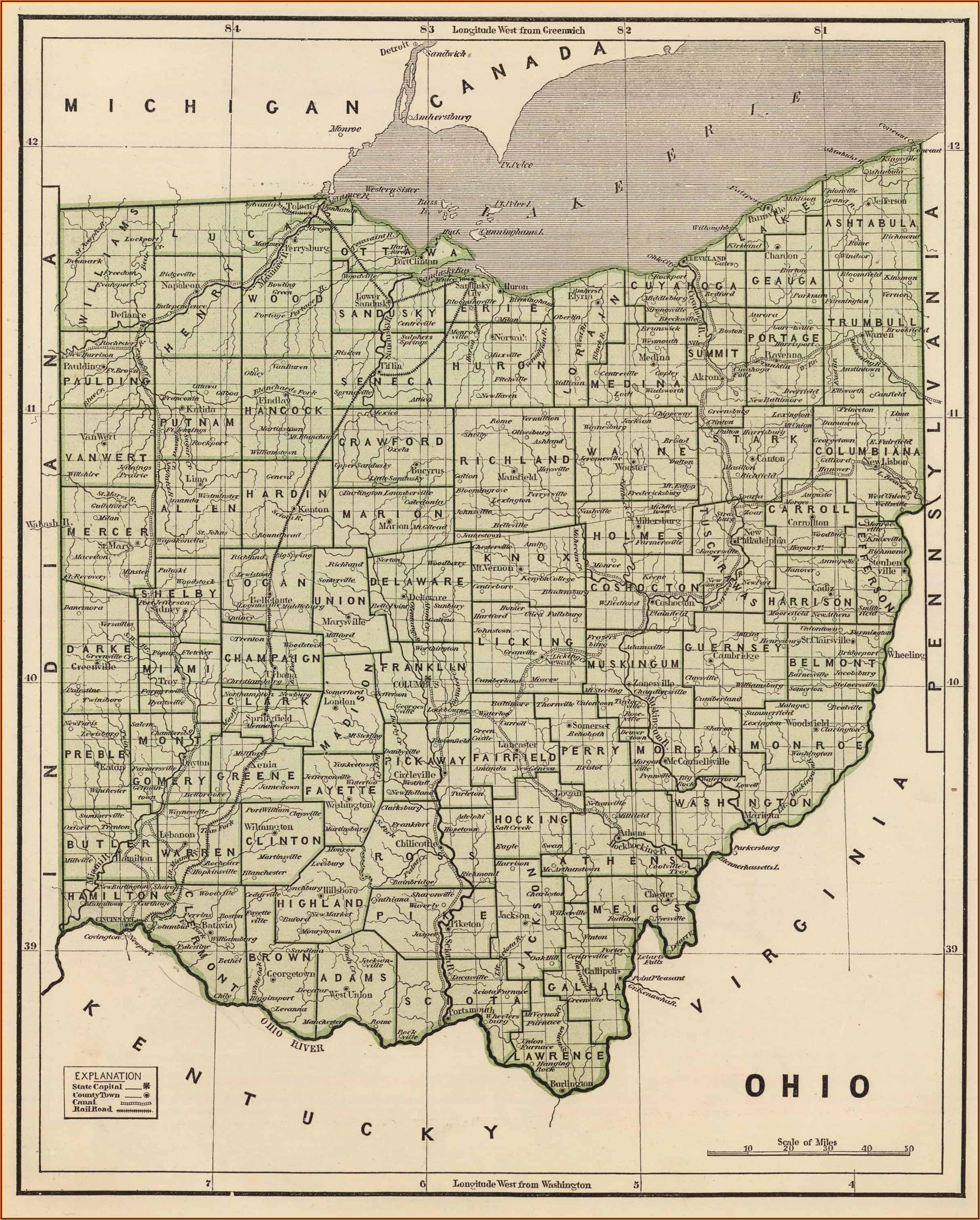 Map Of Guernsey County Ohio Townships