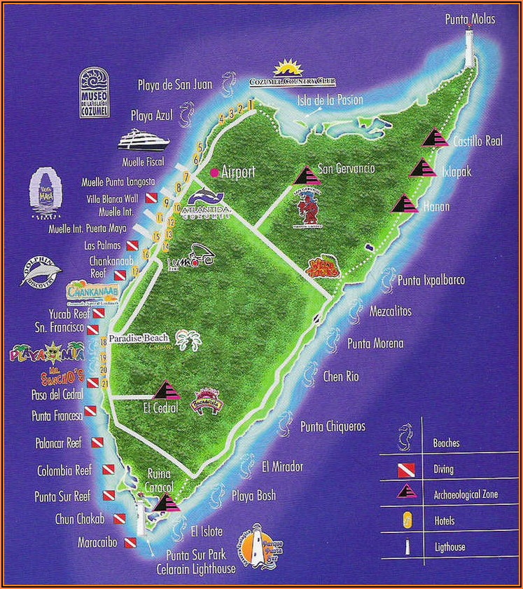 Map Of Hotels In Cozumel Mexico