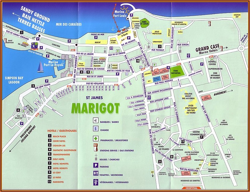 Map Of Hotels On Orient Beach St. Martin