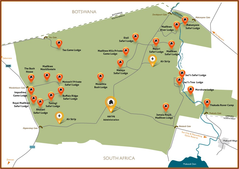 Map Of Madikwe Game Lodges