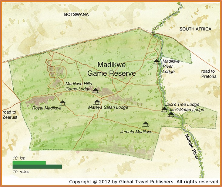 Map Of Madikwe Game Reserve South Africa