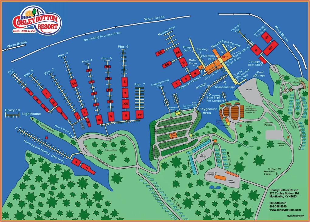 Map Of Marinas On Lake Cumberland