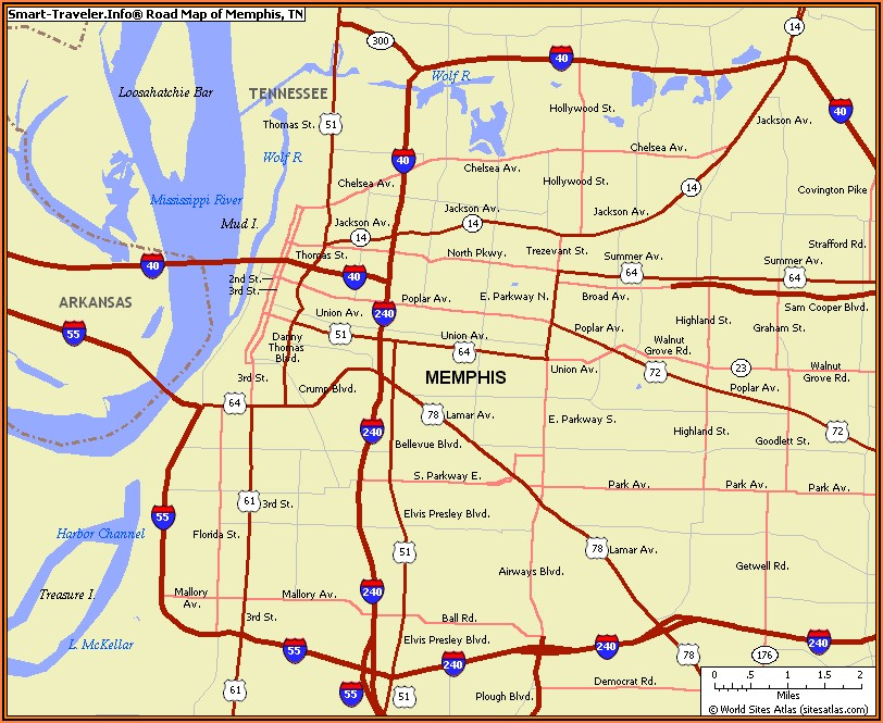 Map Of Memphis Tennessee And Surrounding Area