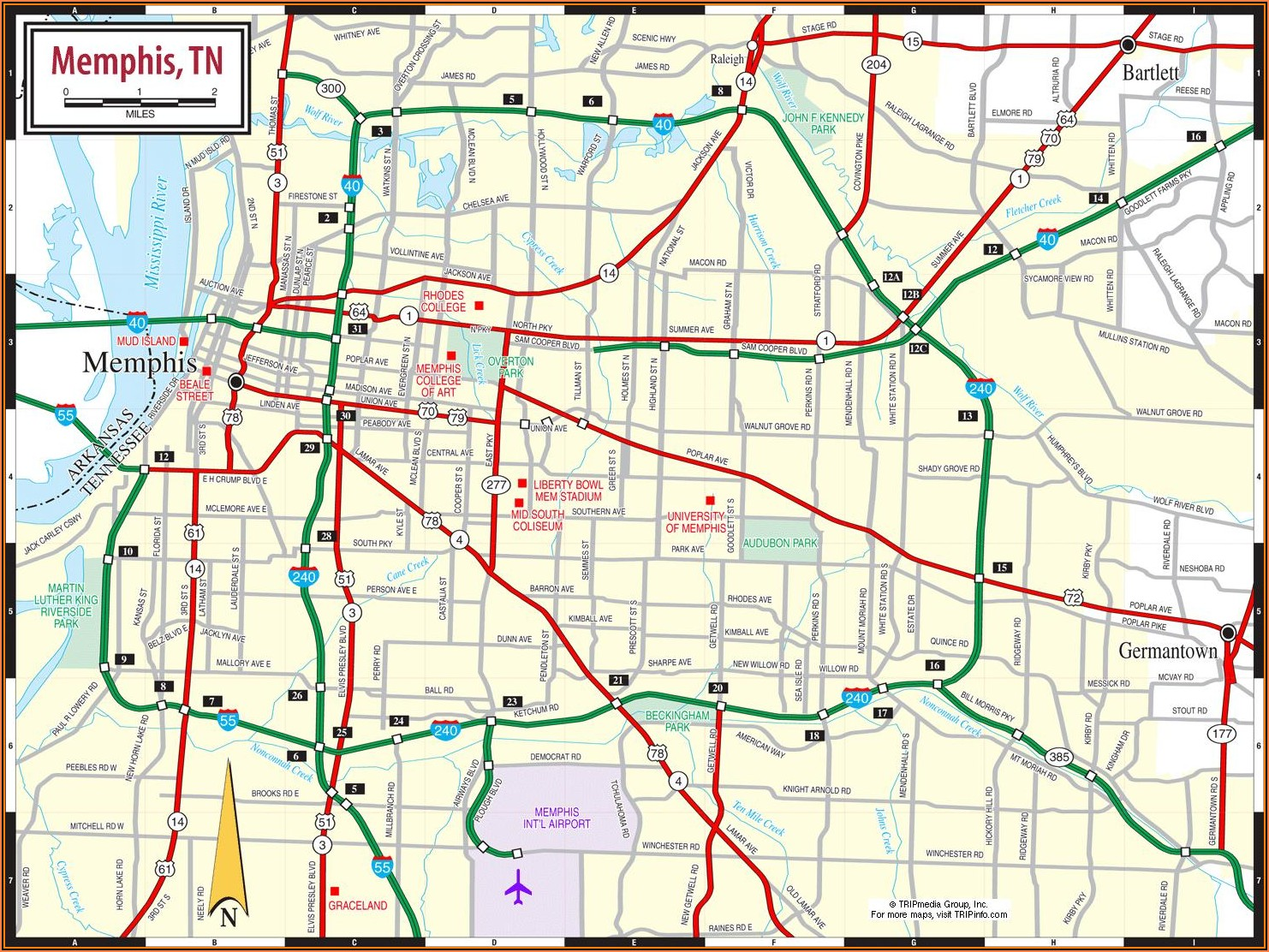 Map Of Memphis Tennessee Area
