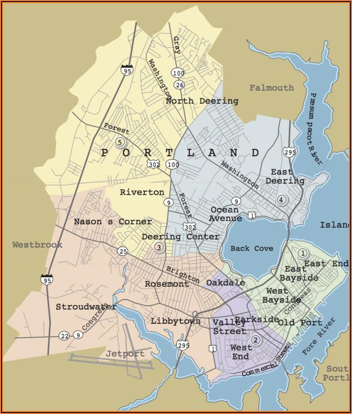 Map Of Portland Maine Area