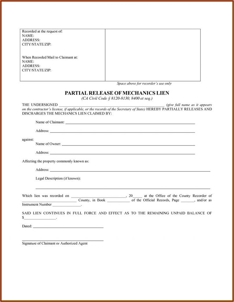 Mechanics Lien Form California
