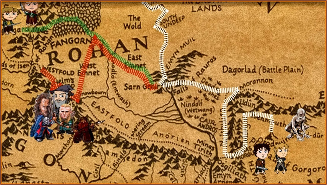 Middle Earth Map Hobbit Path