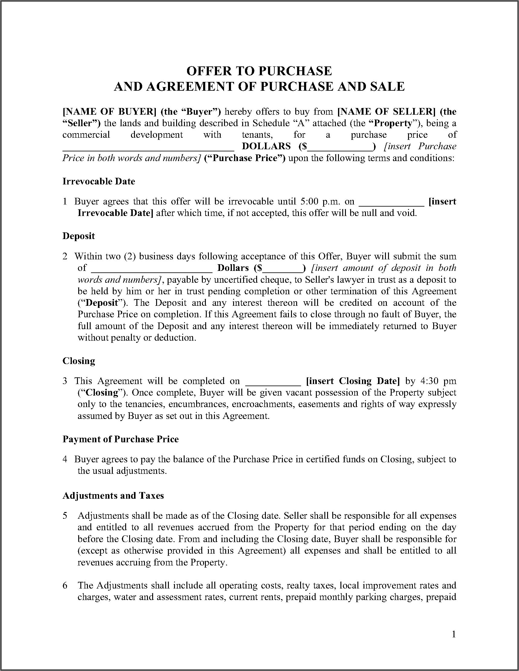 Minnesota Commercial Real Estate Purchase Agreement Form