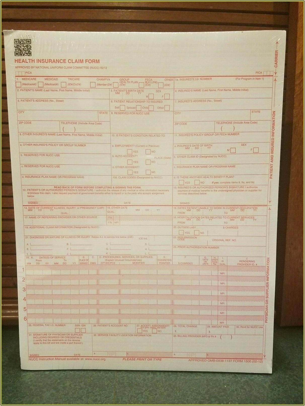 New Cms 1500 Claim Forms Hcfa (version 0212)