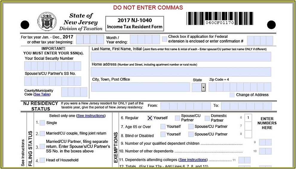 Nj 1040 Income Tax Form 2017