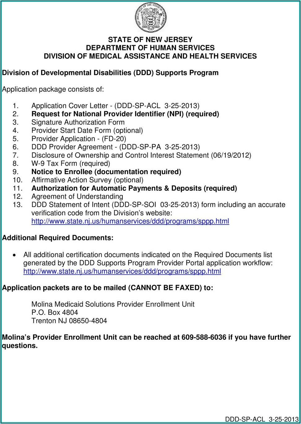 Nj Medicaid Provider Application Form