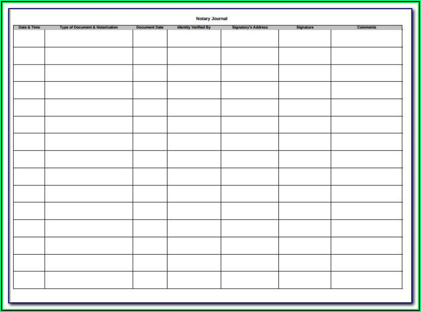 Notary Journal Template Printable