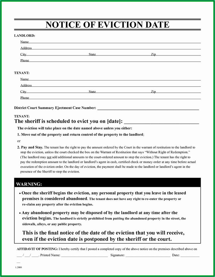 Notice Of Eviction Template Pdf