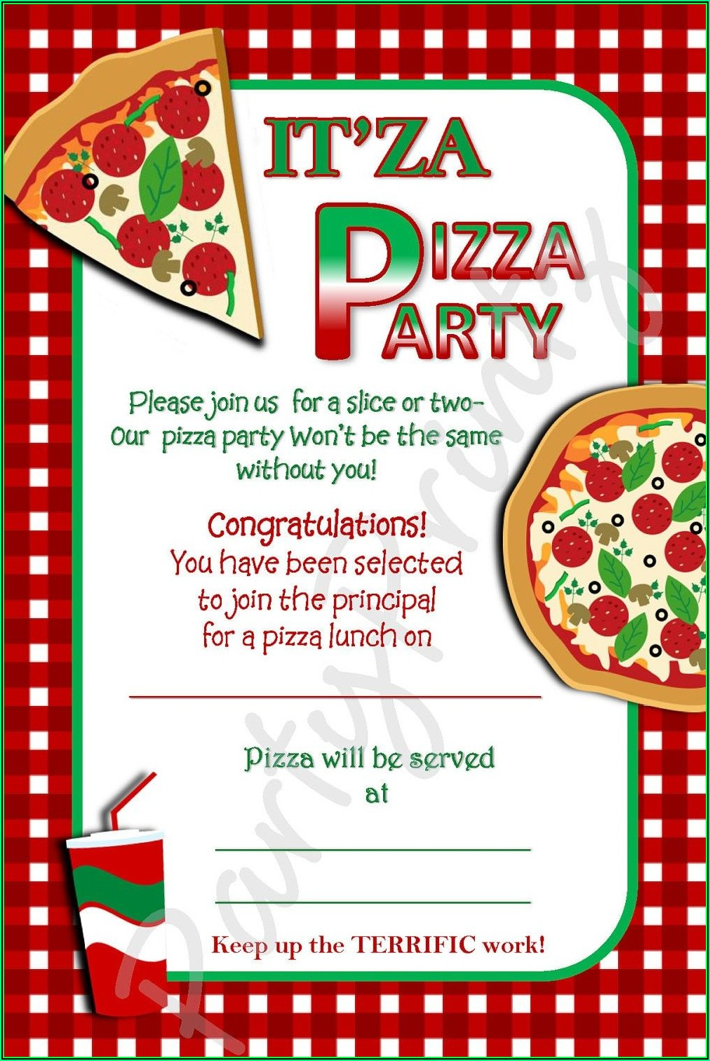 Office Pizza Party Invitation Template