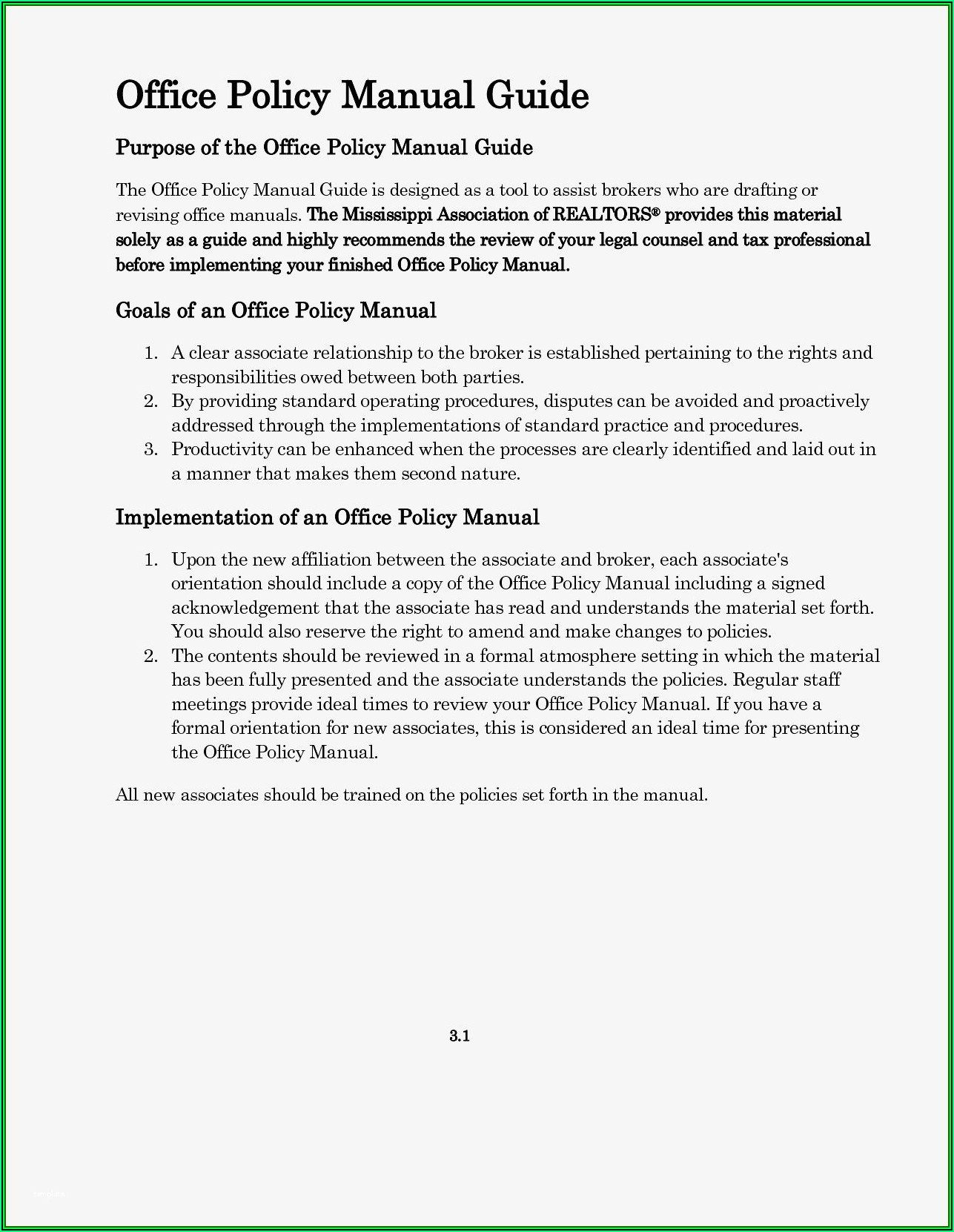 Office Policies And Procedures Manual Template