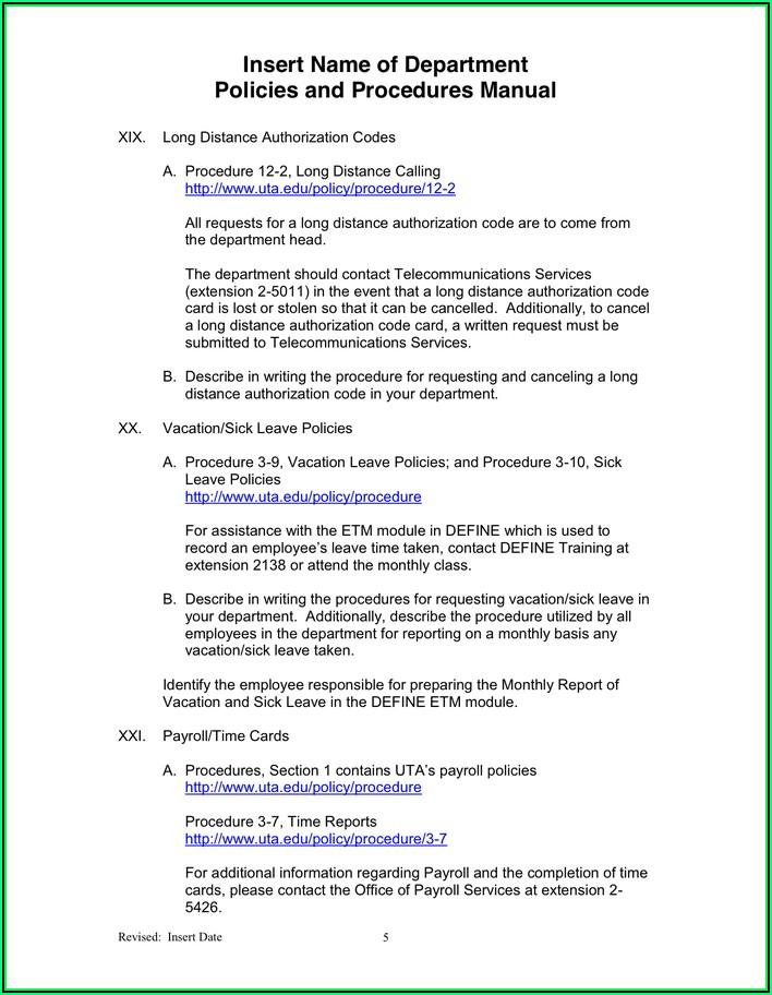 Office Procedure Manual Example