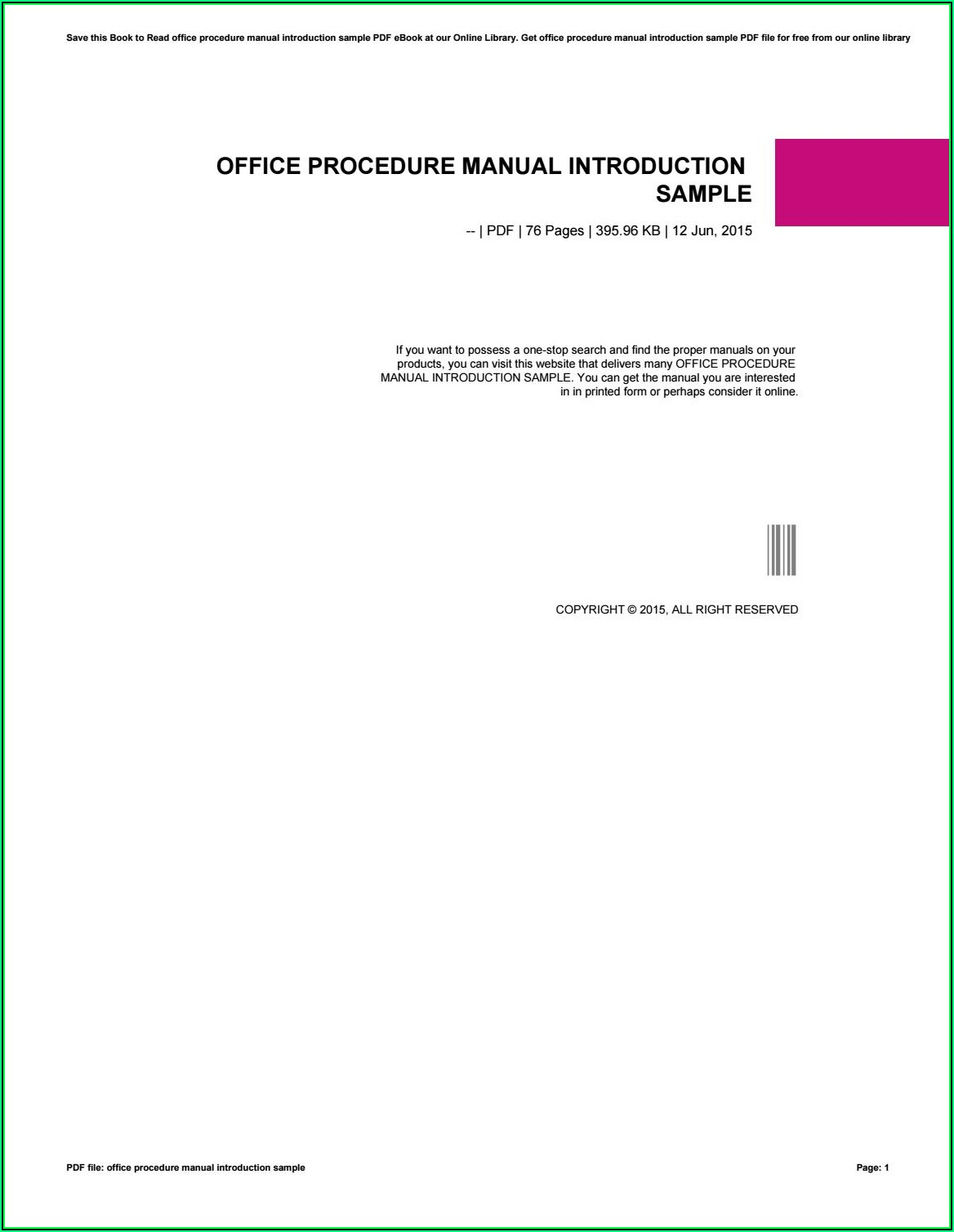 Office Procedure Manual Sample