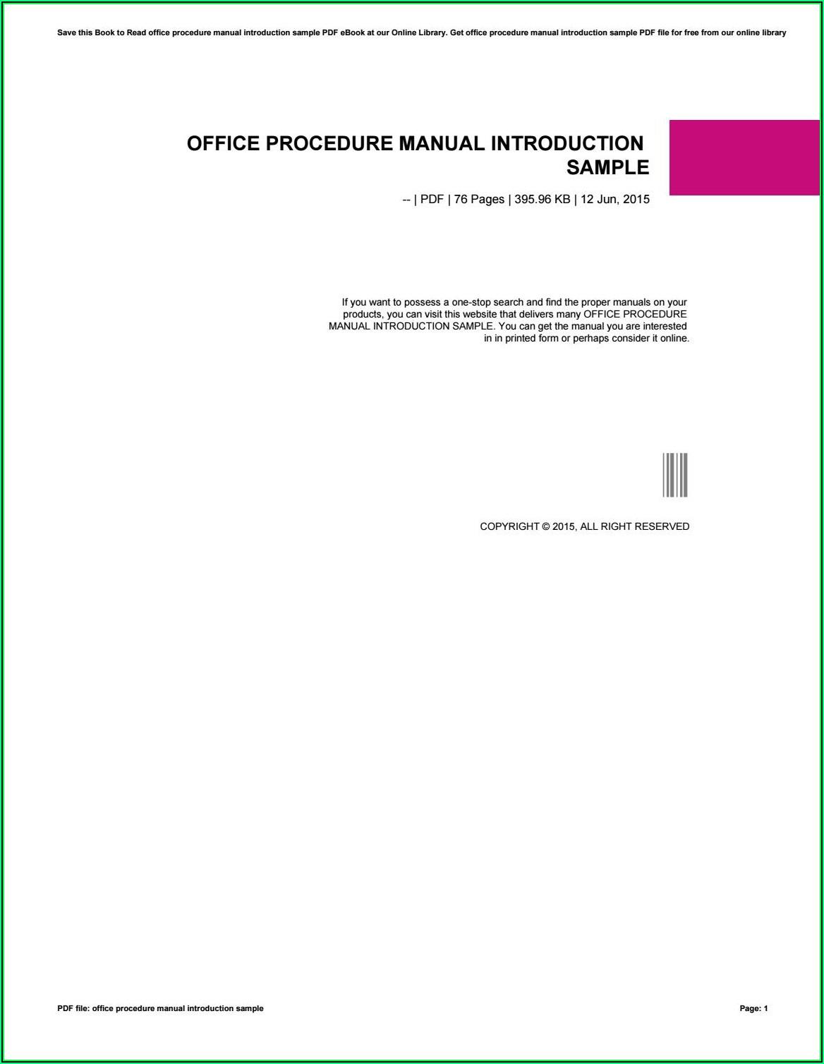 Office Procedure Manual Sample