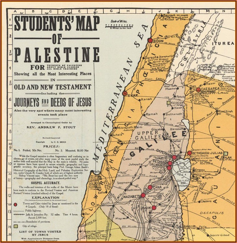Old Map Of Palestine