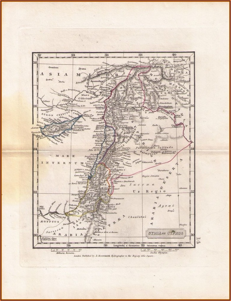 Old Map Showing Palestine