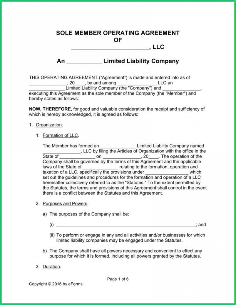 Operating Agreement Template For Single Member Llc