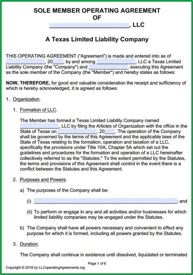 Operating Agreement Template Llc Texas