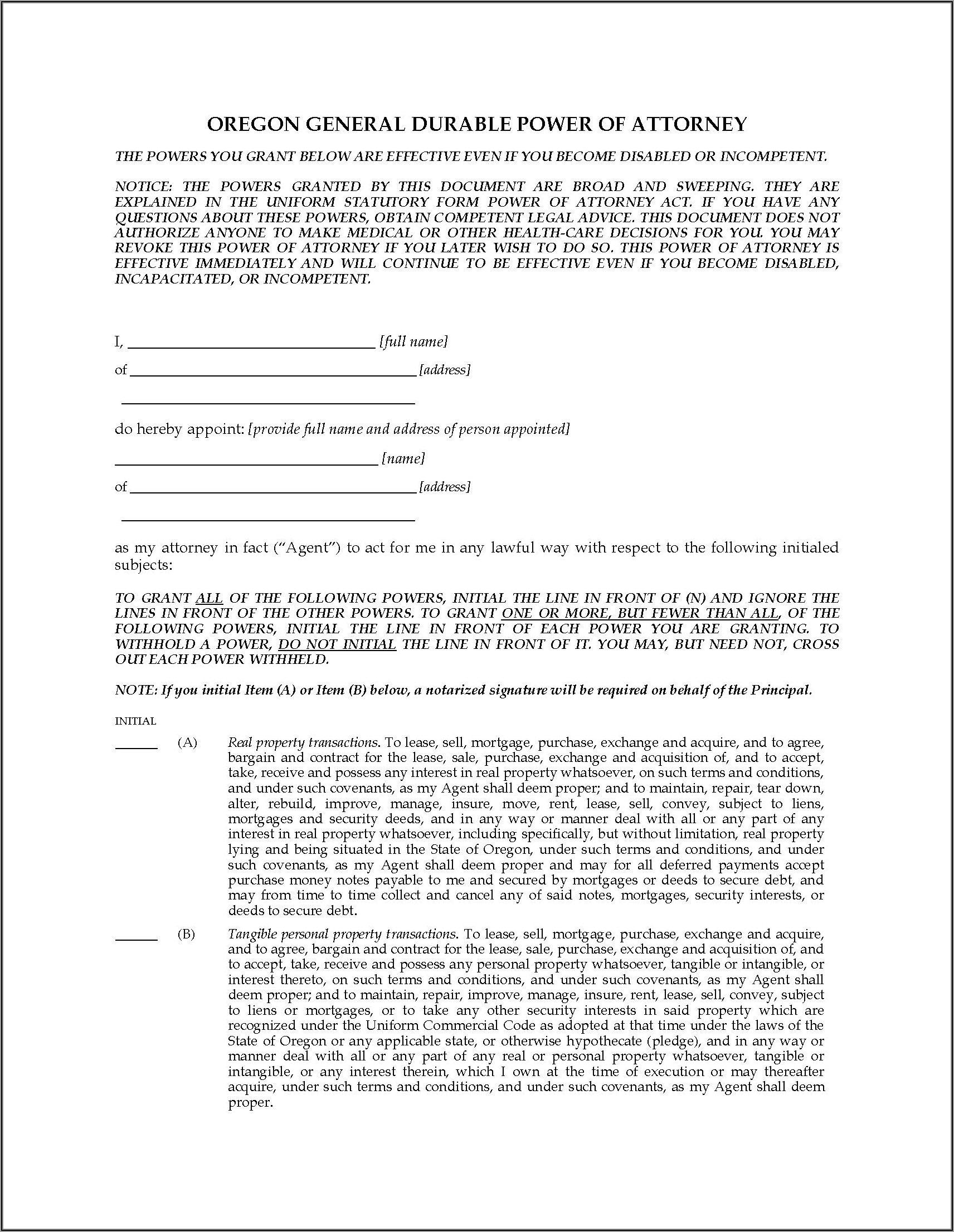 Oregon Durable Power Of Attorney Forms