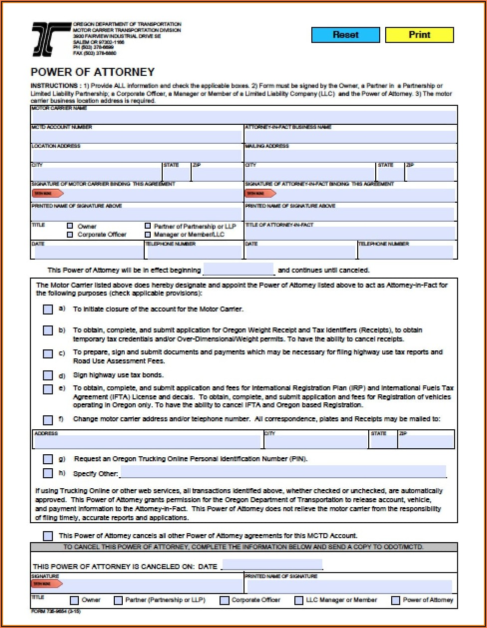 Oregon Limited Power Of Attorney Form