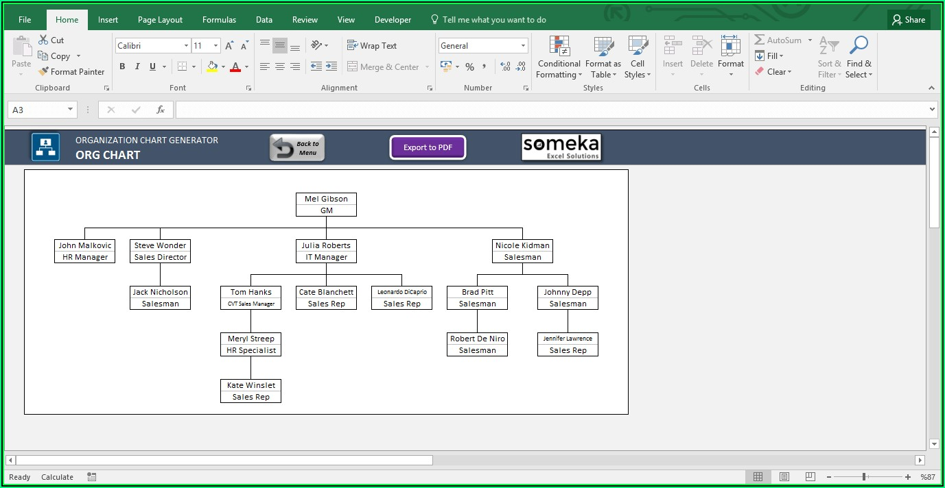 Org Chart Excel Template Free Download