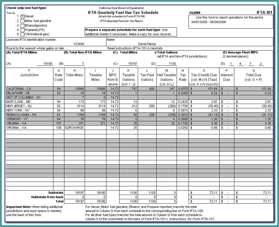 Pa Ifta Quarterly Fuel Tax Report Form
