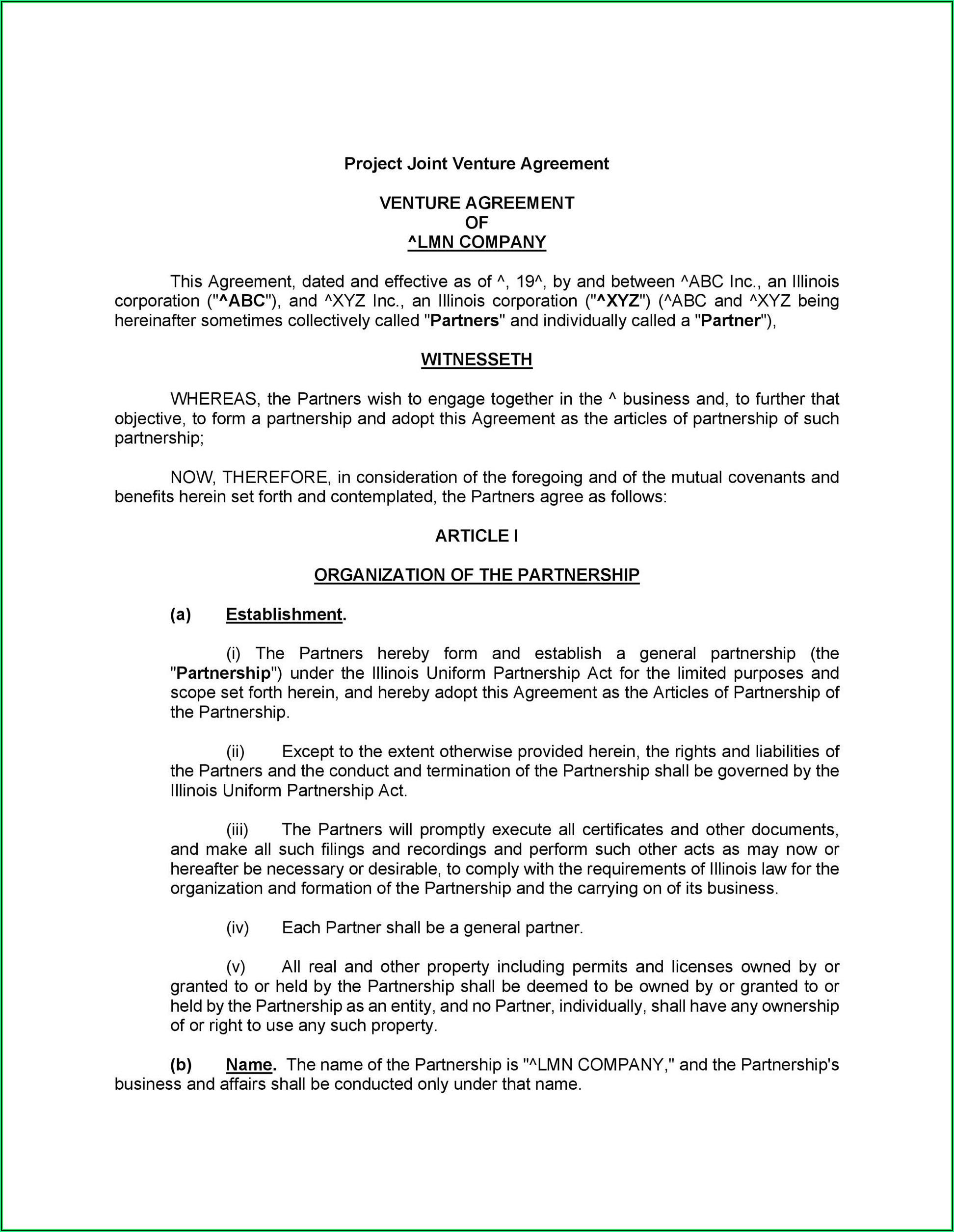 Partnership Agreement Format Pdf India